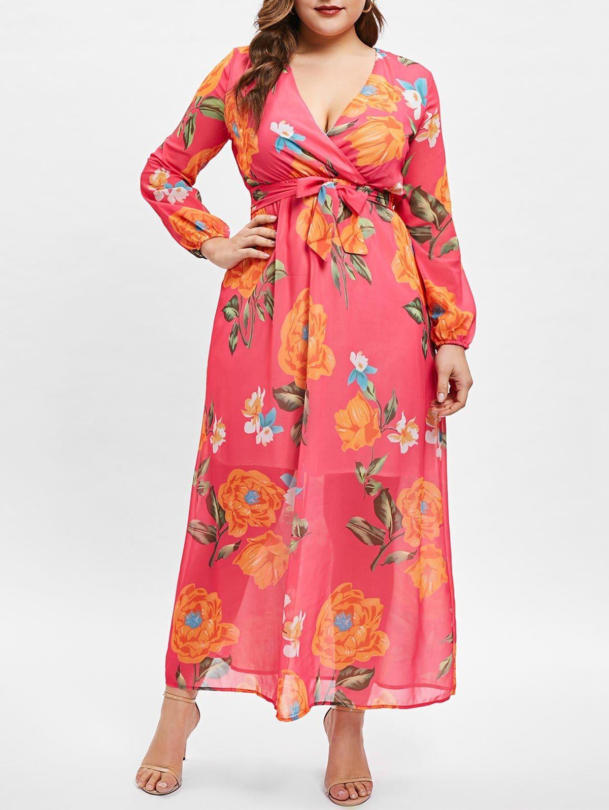 56e76e44a67ea Wrap Floral Print Long Sleeve Plus Size Dress Rosegal Christmas Special  Sale Use Code:RGBF1
