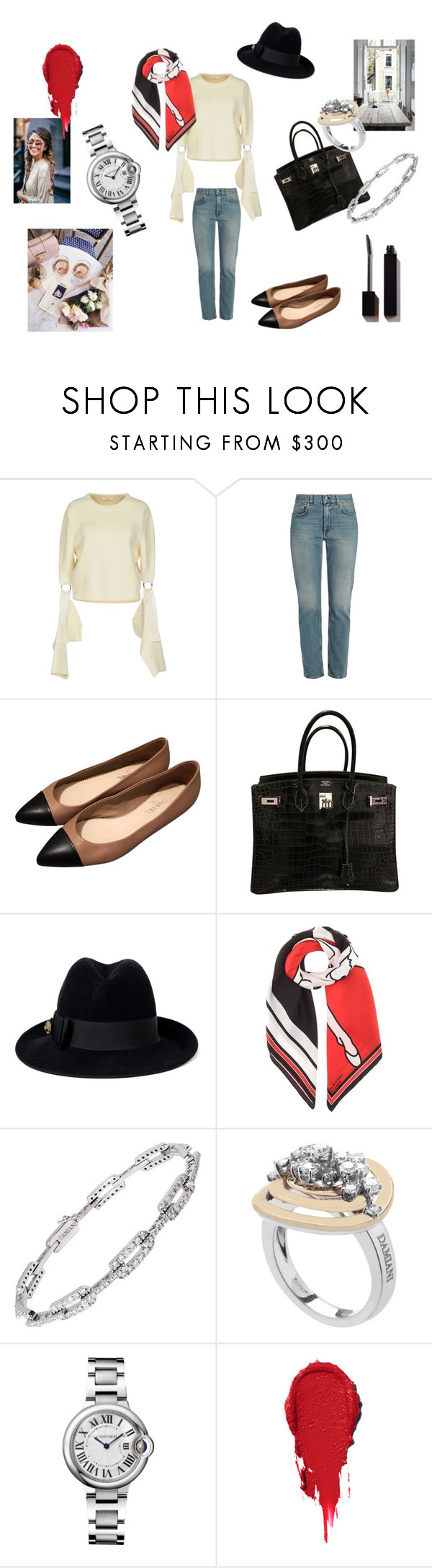 """So French with these flats"" by maria-chamourlidou ❤ liked on Polyvore featuring CÉLINE, Acne Studios, Chanel, Hermès, Gucci, Givenchy and Damiani"