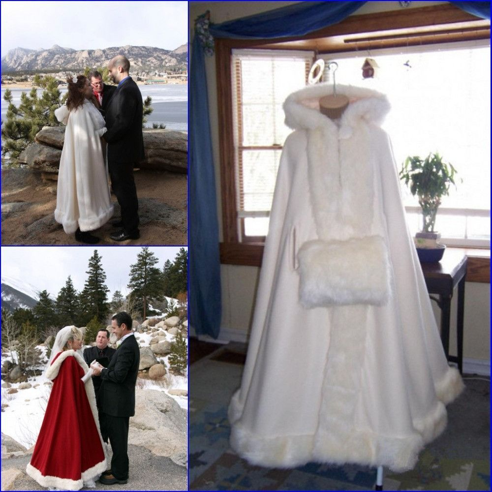 Coat dresses for weddings  Fast Delivery Romantic Real Image  Hooded Bridal Cape Faux Fur