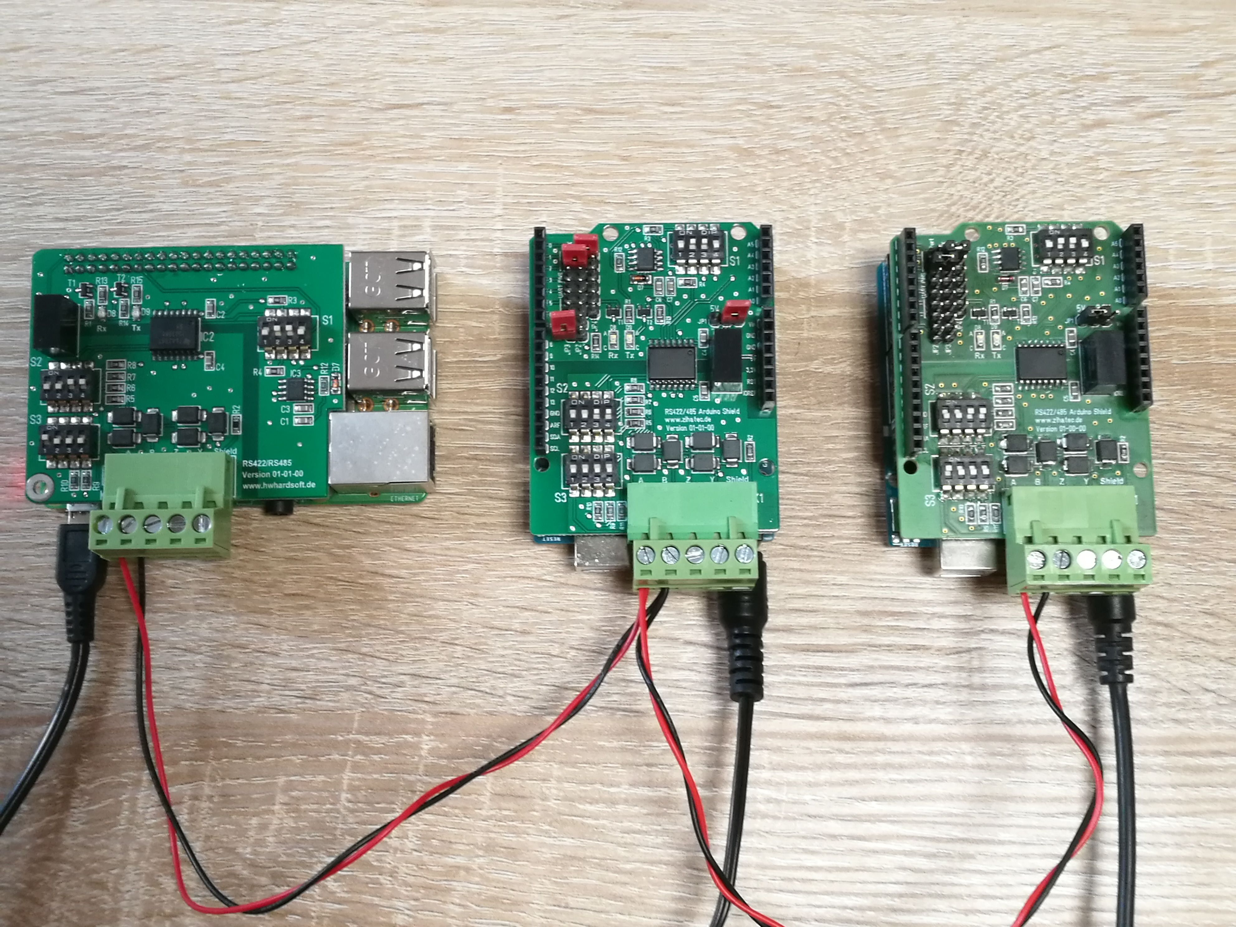 Test run of a RS485 connection of a Raspberry Pi (left