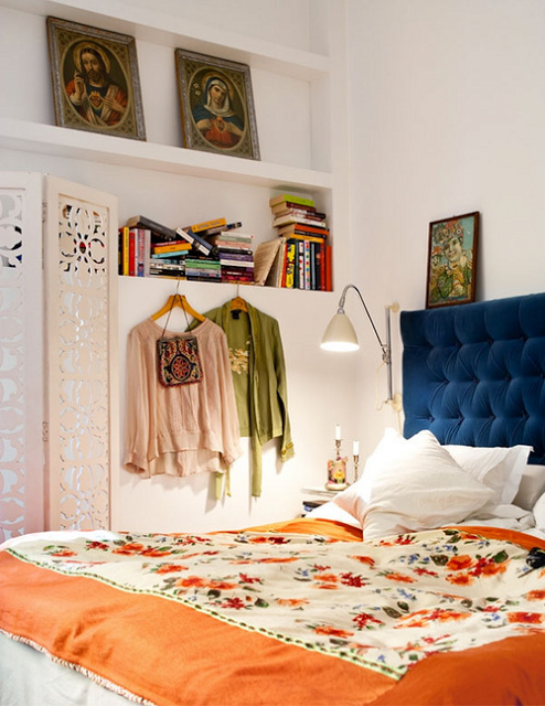 fabulous boho bedroom - love the orange and blue combination and wall shelves