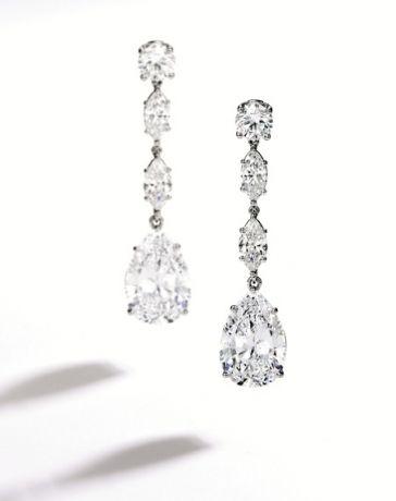 Pair of Platinum and Diamond Pendant-Earclips, Oscar Heyman & Brothers