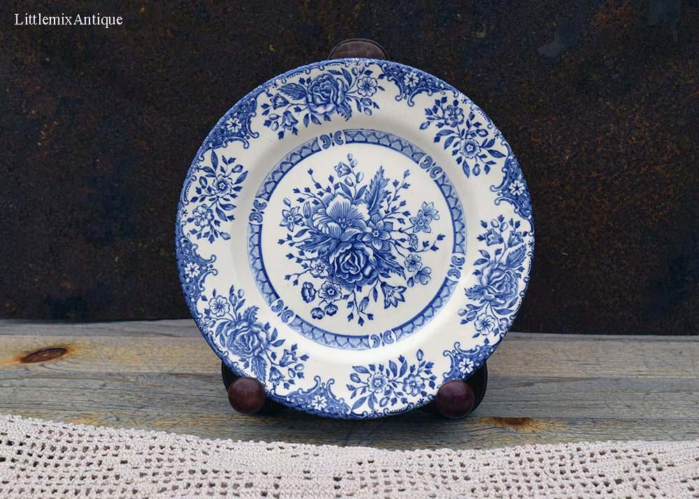 Vintage English Ironstone Tableware Limited Staffordshire England Retro Blue and White Printing Floral Design Side/ & RESERVED to Arianna. Vintage English Ironstone Tableware Limited ...