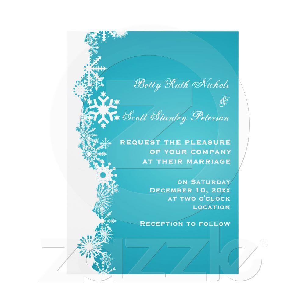 Snowflake Turquoise White Winter Wedding Invitations From Zazzle