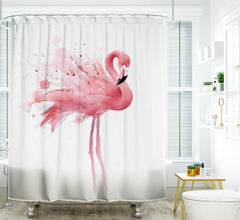 White Backdrop Ink Design Pink Flamingo Shower Curtain Decor Party Flamingos