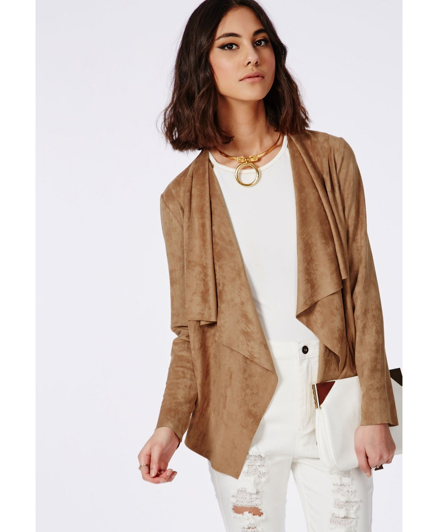 96482f238 Faux Suede Waterfall Jacket Tan - Coats & Jackets - Missguided ...
