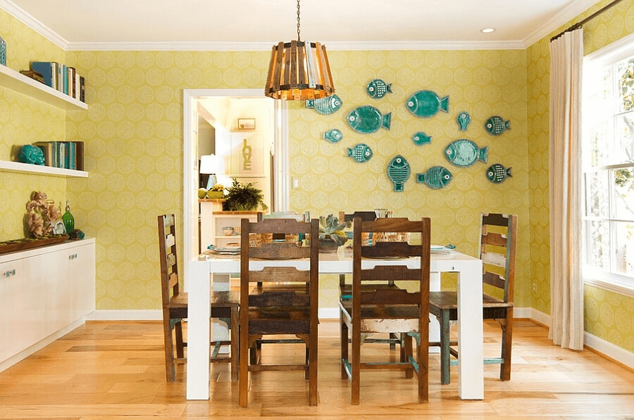 Yellow and blue fish theme plates for dining room wall decoration ...