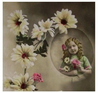 Antique French Postcard – Little Girl with Flowers  by:-Chic et Choc