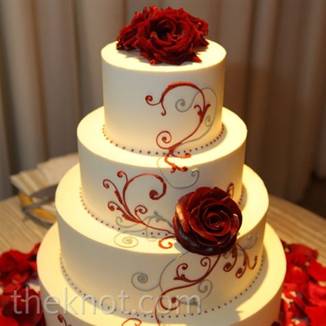 Red And White Wedding Cakes Weddings Invites Paper Not Engaged Yet