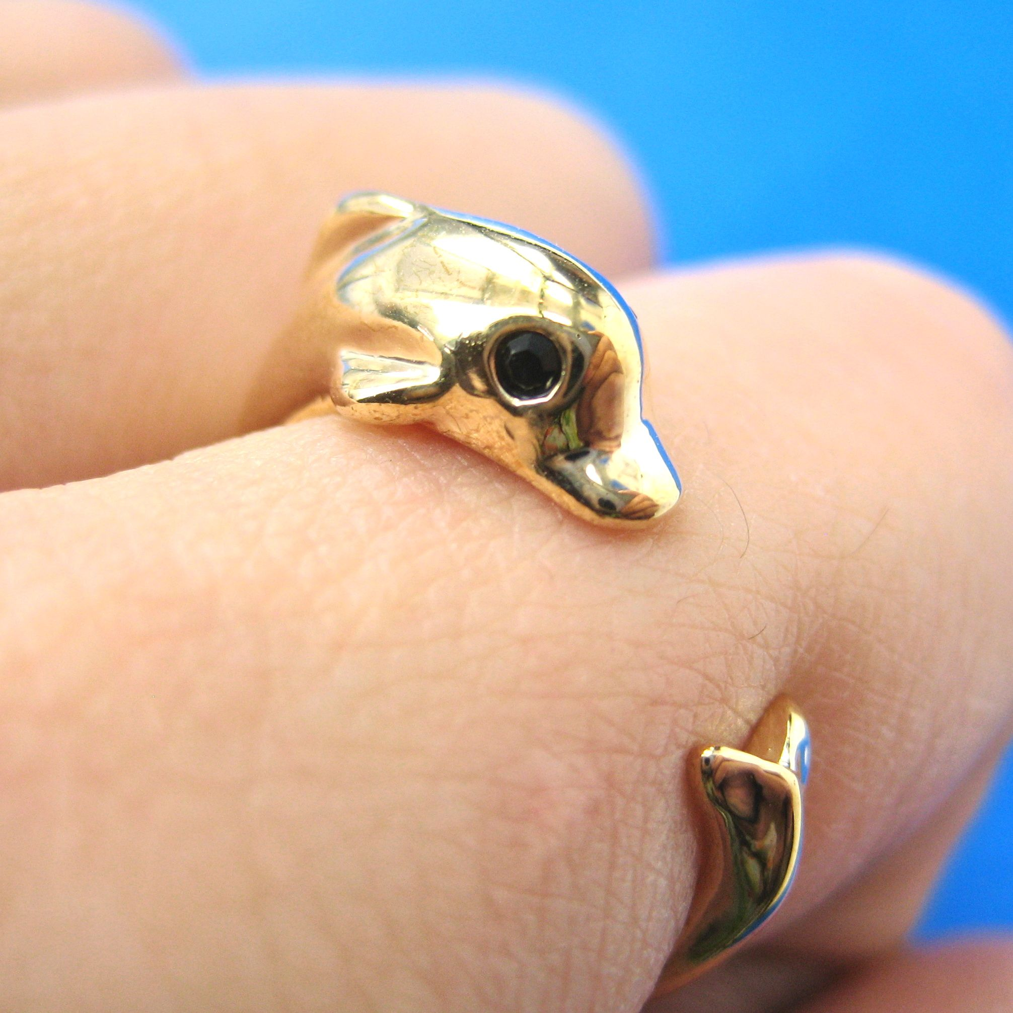 Realistic Dolphin Sea Animal Wrap Hug Ring in SHINY Gold Sizes 4