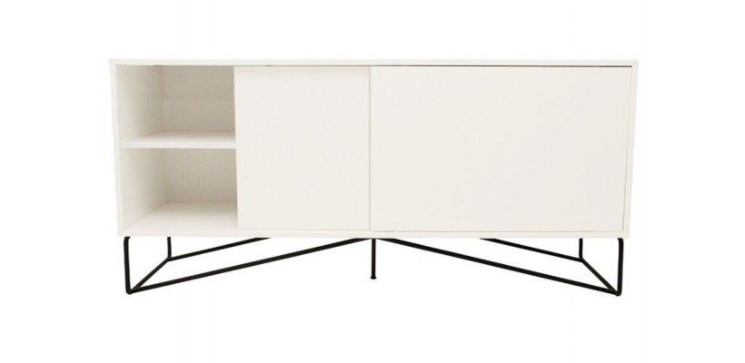 Buffet Design Cross Blanc Et Pied Métal Noir - 160 Cm | Buffet
