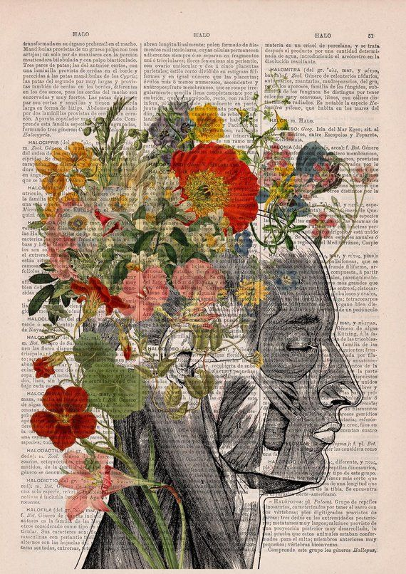 Flowery Hair collage Printed on Dictionary Book page. Anatomy decor, Flower and butterflies print, SKA161