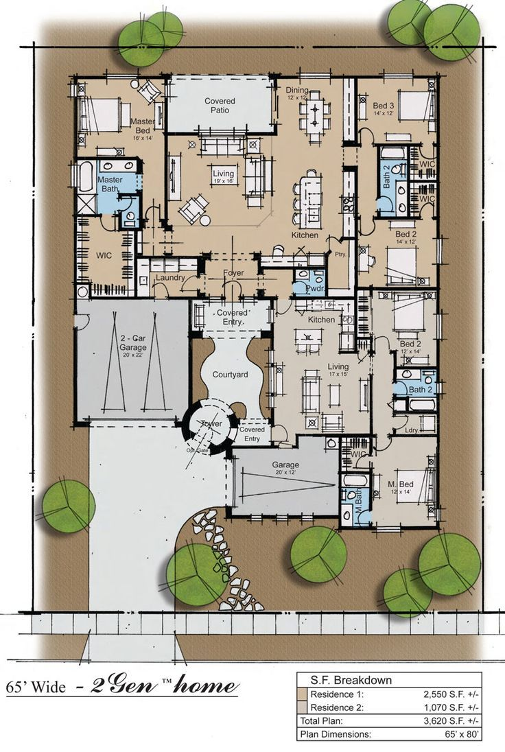 2gen Ranch Plan By Perlman Architects House Decorators Collection Family House Plans Multigenerational House Plans Ranch House Plan