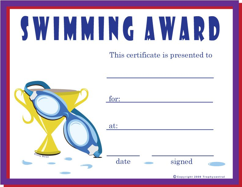 Free Swimming Certificates $0.00  Certificates Free Download Free Printable
