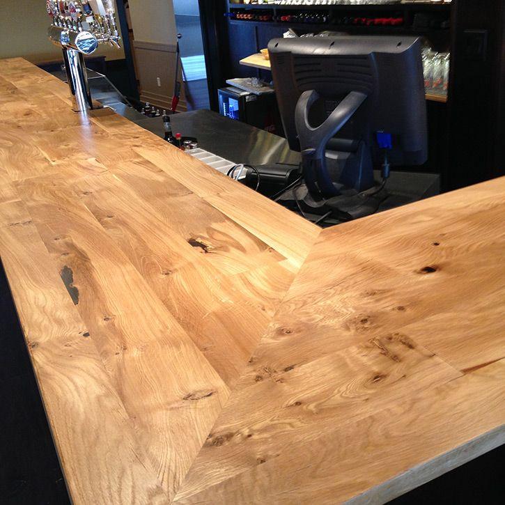 Recently installed salvaged white oak bar top | Hardwood ...
