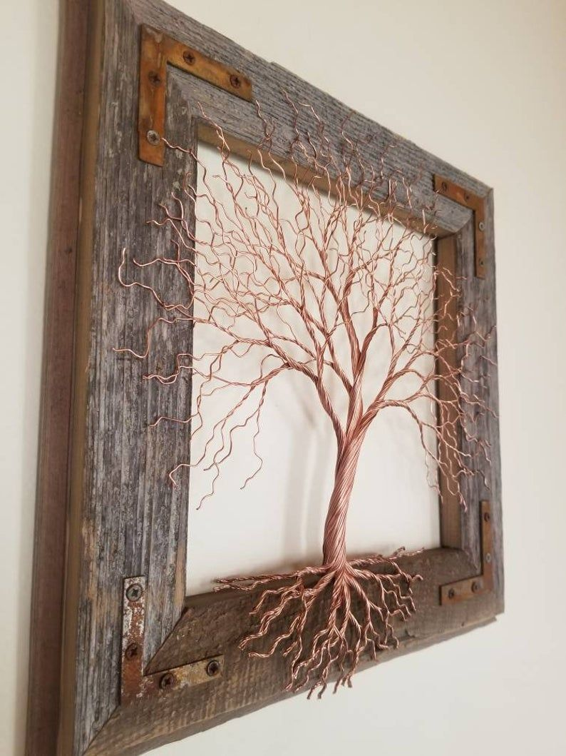 Copper wire tree.  Wire art.  Metal Art.  Wall decor. Copper wire sculpture. Barn wood frame