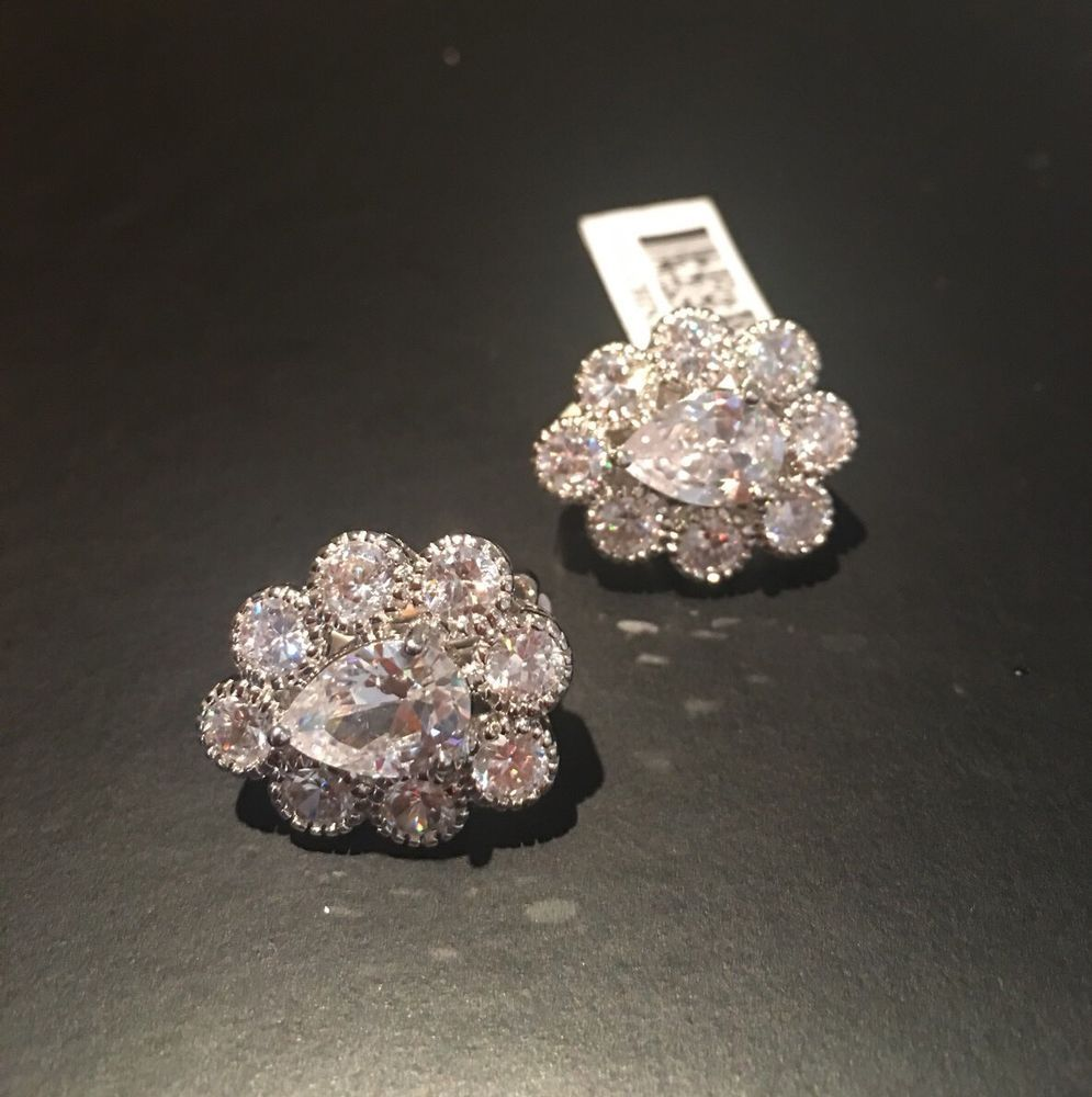 Bella Luce Pear Round Cz Clip On Earrings Platinum Over 925 12 34ct  Ebay #