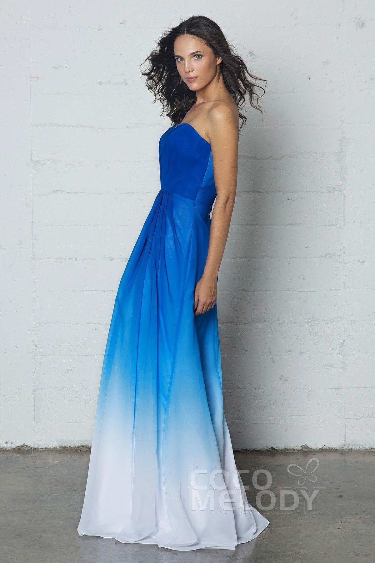Royal blue wedding dresses plus size  Charming Sweetheart Natural Floor Length Ombre Chiffon Sleeveless