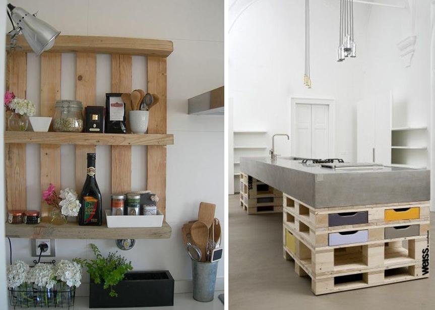 étagères En Palettes Et Ilot De Cuisine En Bois Idée Exemple Style - Diy deco cuisine pour idees de deco de cuisine