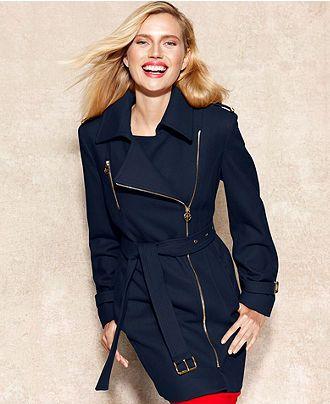 4d109769 MICHAEL Michael Kors Coat, Asymmetrical Belted Wool-Blend - Michael Kors  Coats & Jackets - Women - Macy's