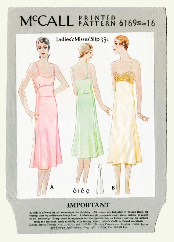 1920s 20s vintage lingerie sewing pattern lace slip negligee bust 34 ...