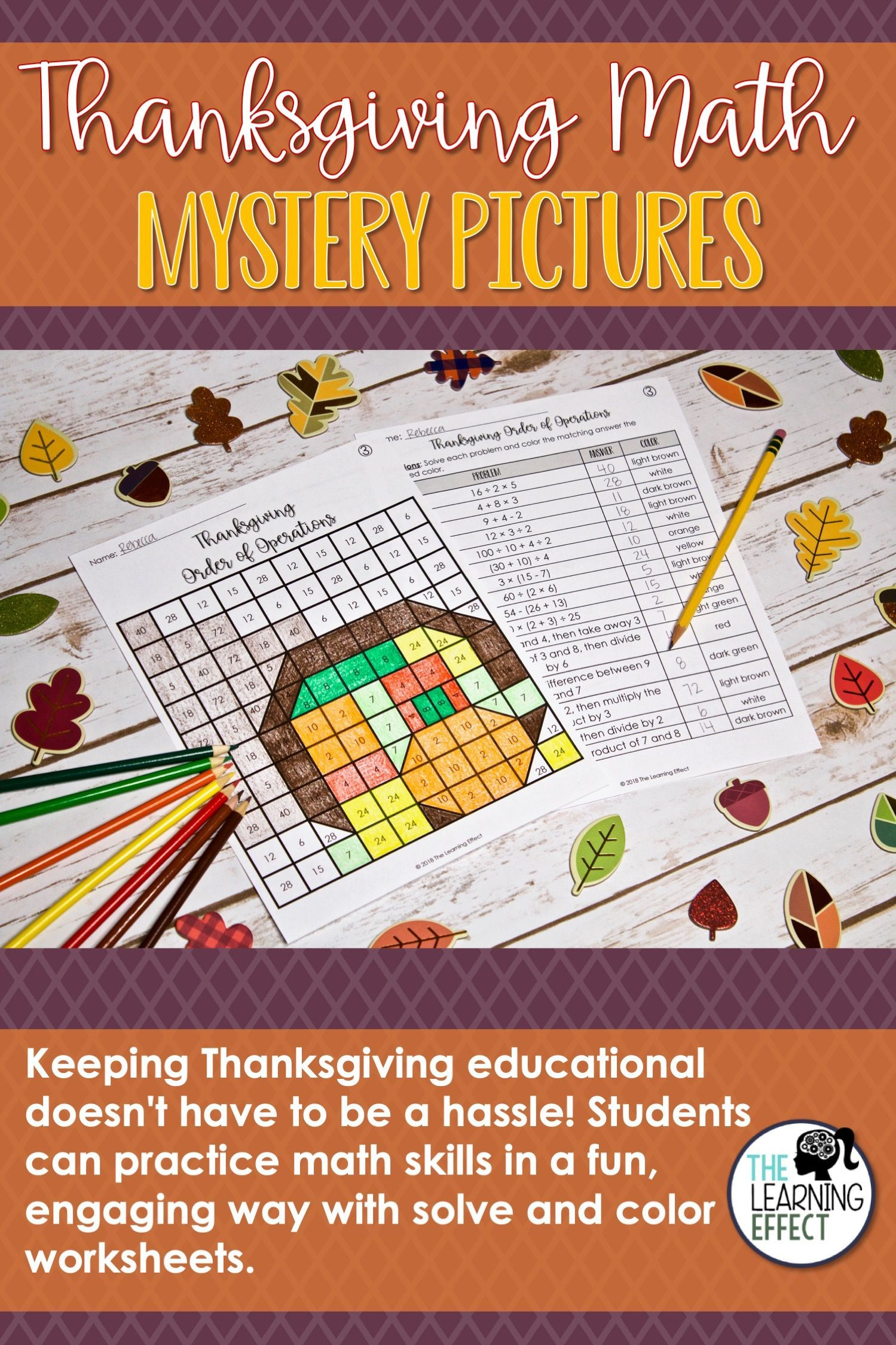 Thanksgiving Math Mystery Pictures