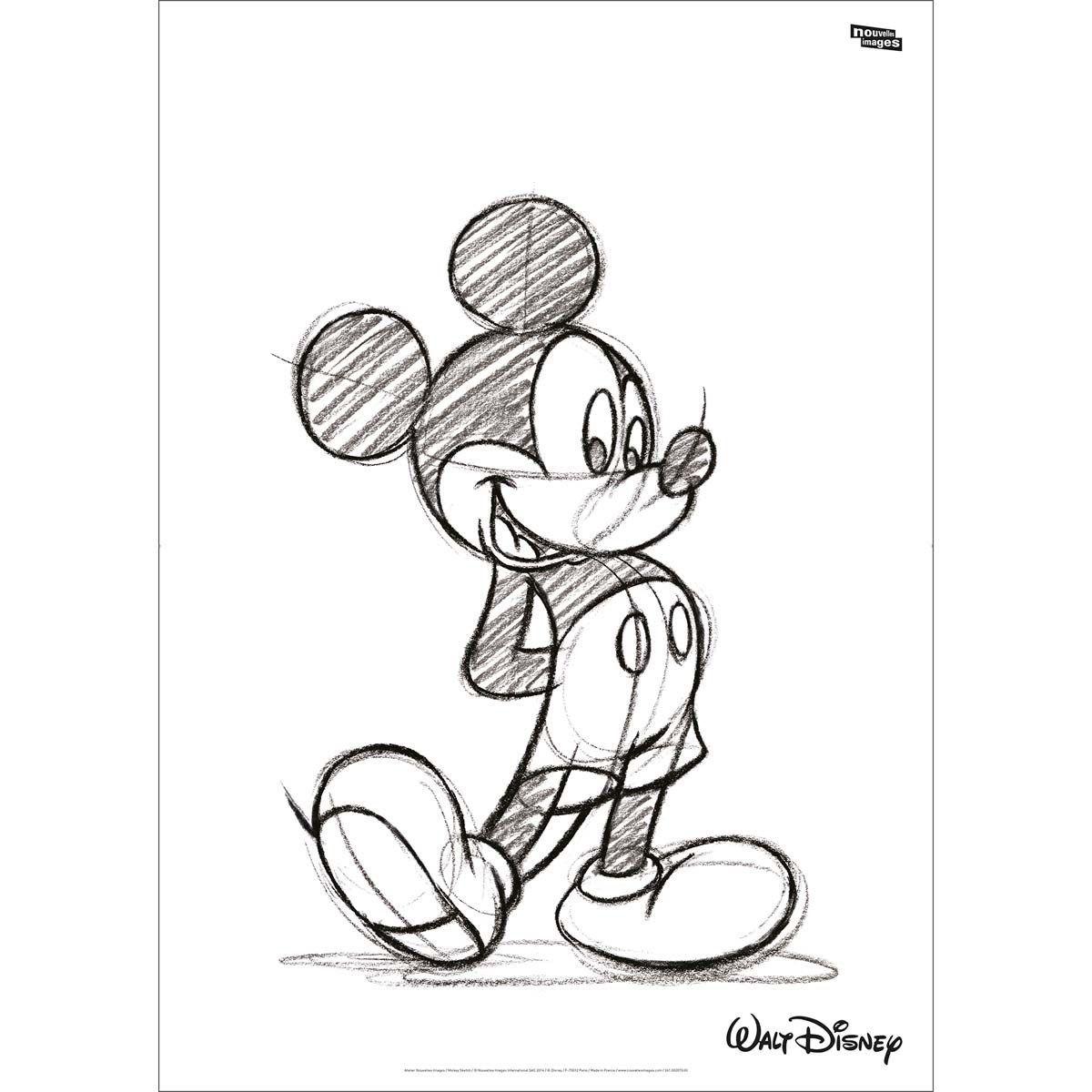 Sticker Mural Xl Mickey Mouse, Croquis En Noir Et - Taille