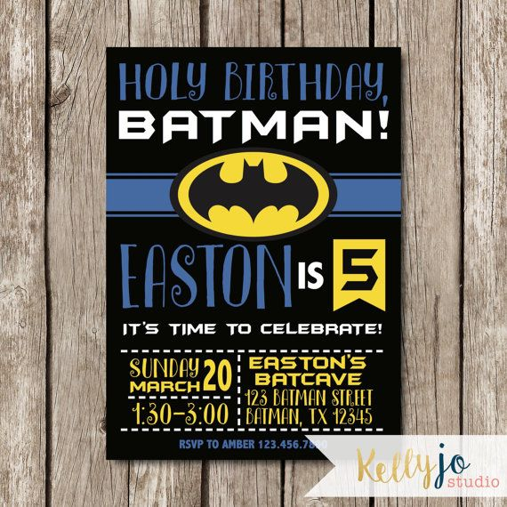 Batman Birthday Party Invitation Yellow Black And Blue Jackson S Pinterest