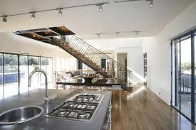 Stairs In Middle Of Open Concept Room Google Search Stairs In   Open Concept With Stairs In Middle   Space   Dining Room   Kitchen   House   Living Room