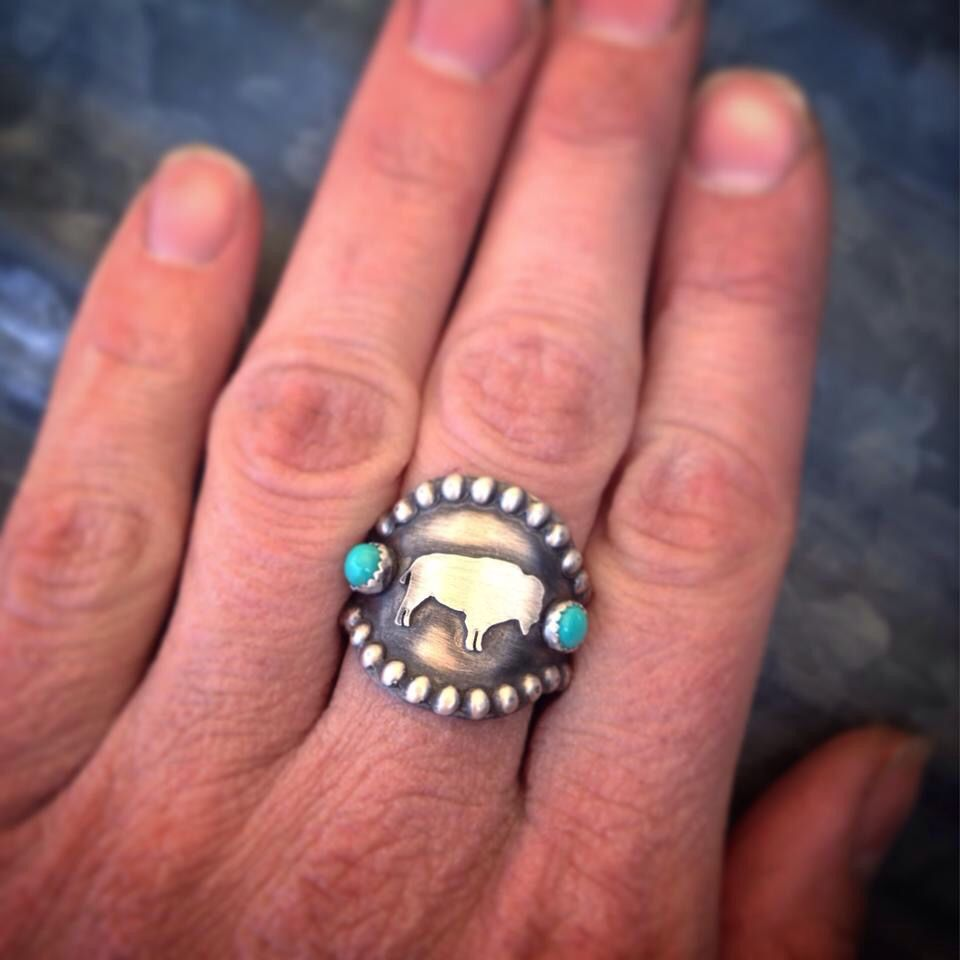 An awesome buffalo ring designed and created by Silo Silver!!