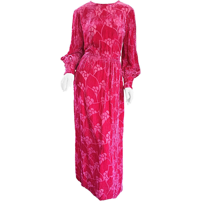 Vintage elizabeth arden s hot pink fuchsia crushed silk velvet