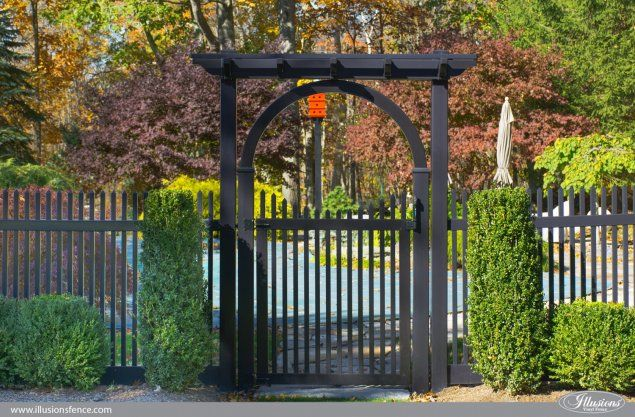 picket fence gate with arbor. Pvc Vinyl Gate Arbor And Pergola On A Black Picket Fence From Illusions With