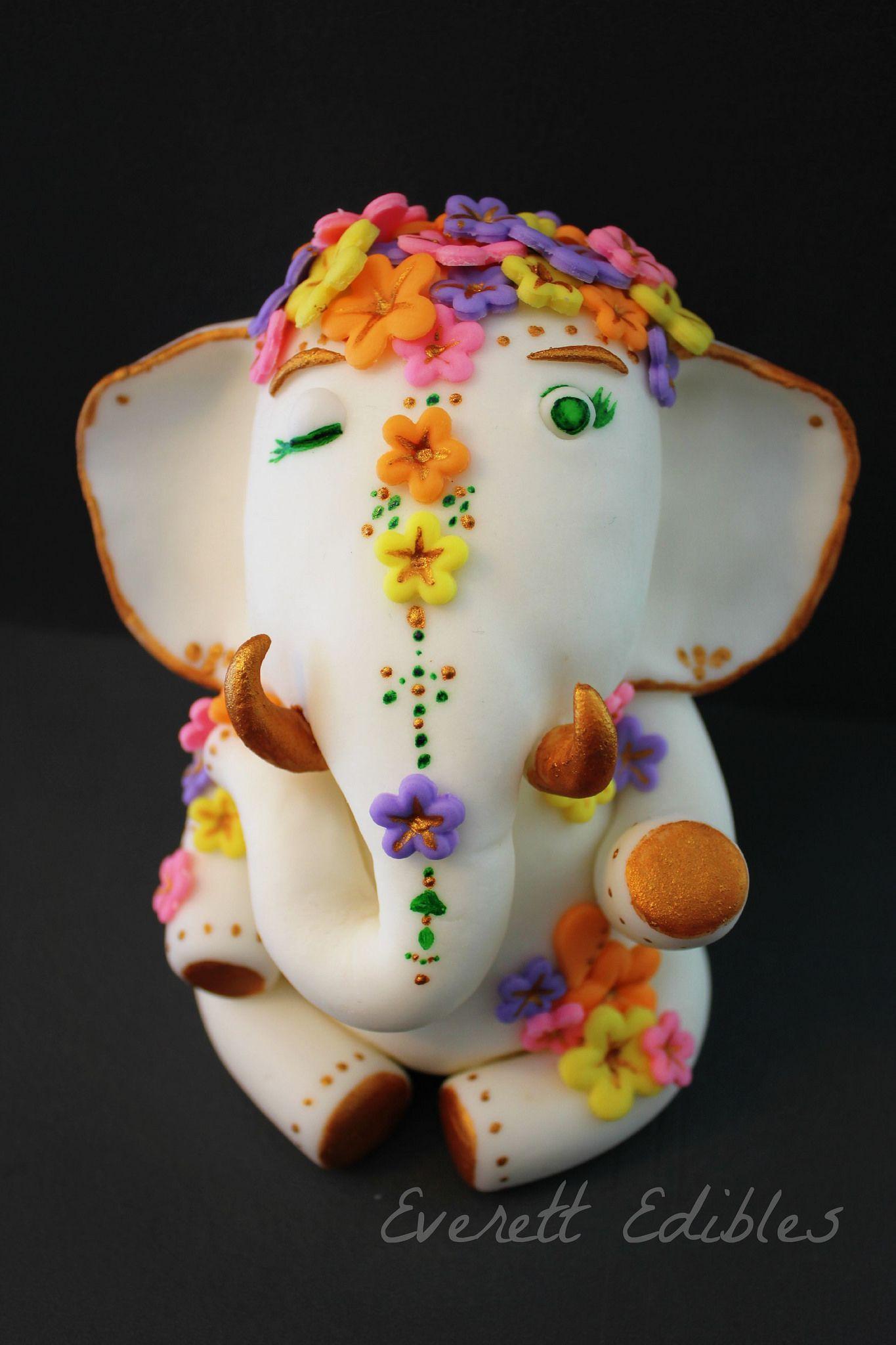 Indian inspired elephant bollywood cake topper fondant ...
