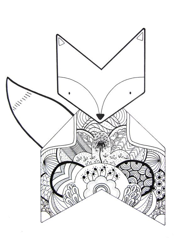 fox flowers  original drawing illustration by inkbyjeng on Etsy, $35.00