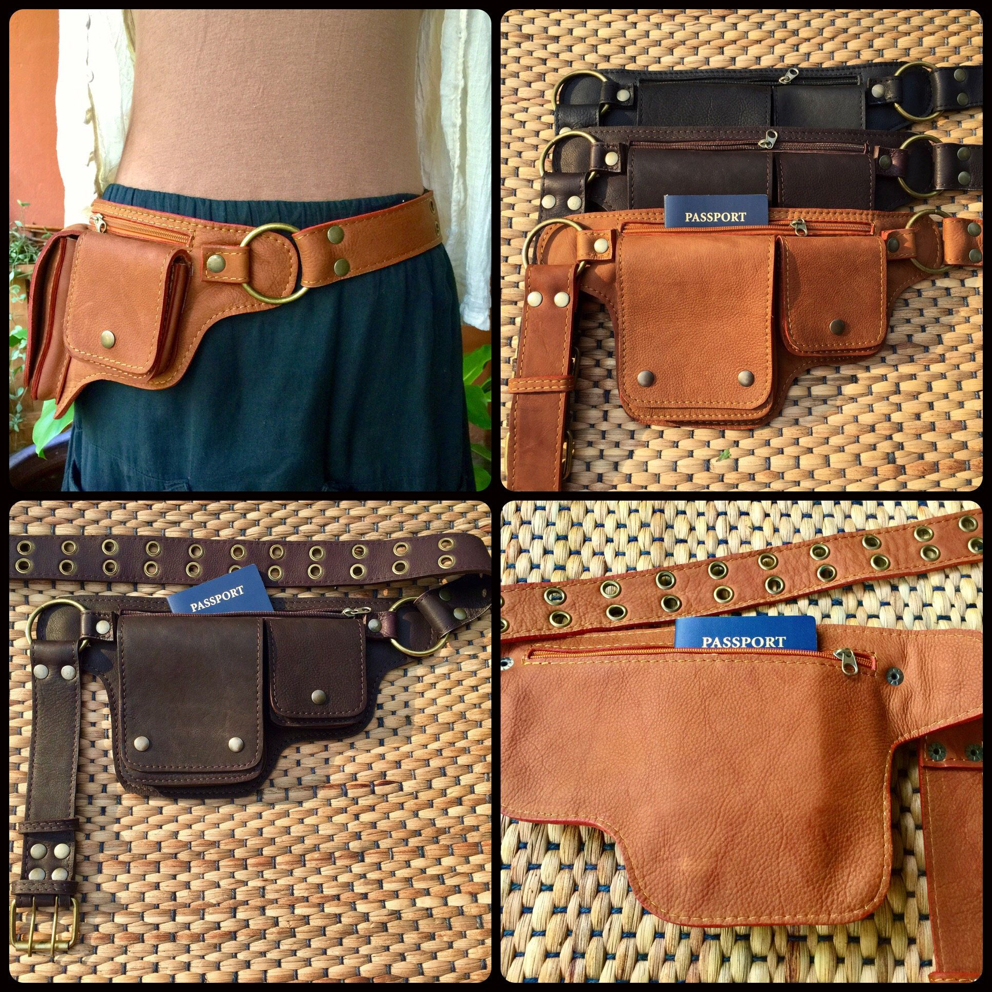 Leather Utility Belt Bag Hip Waist Purse Pocket Belt