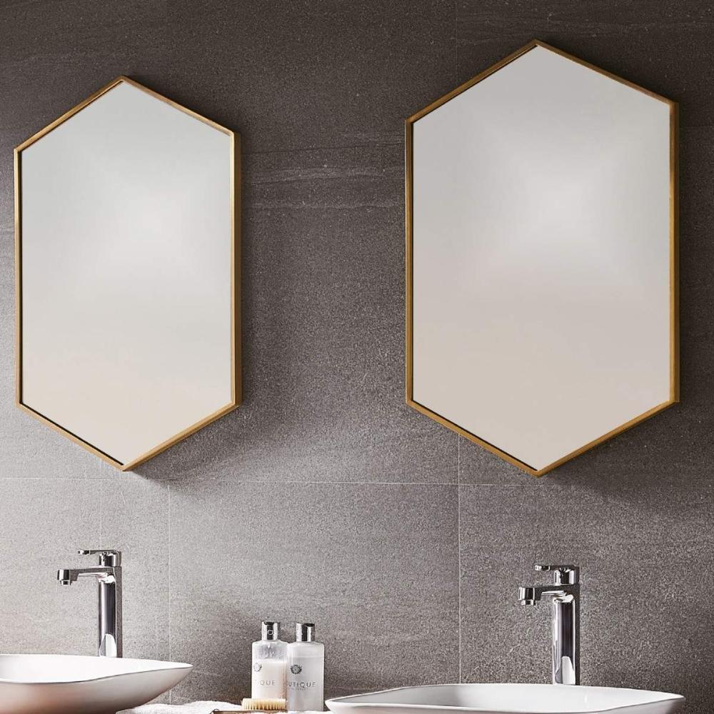 Photo of Bathroom Origins Docklands hexagonal mirror – brushed brass