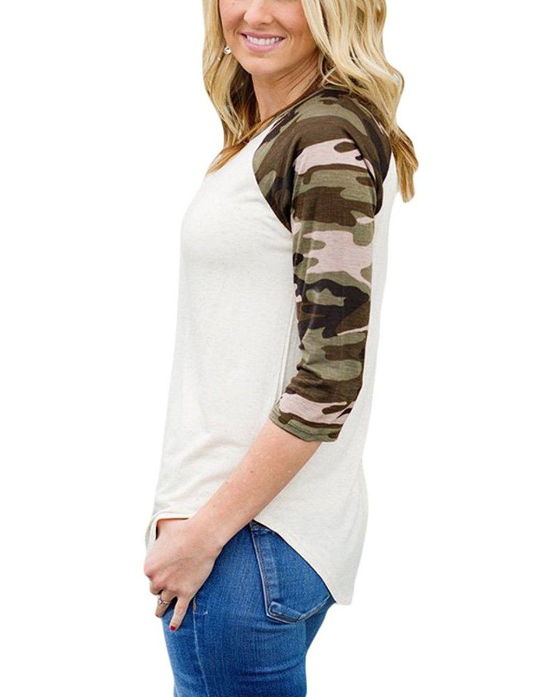 d6d83ced Women's Clothing, Tops & Tees, Blouses & Button-Down Shirts, Women's Plus  Size Casual 3/4 Raglan Sleeves Baseball Shirt Blouse Top - Camo -  CA185LEHD7T ...
