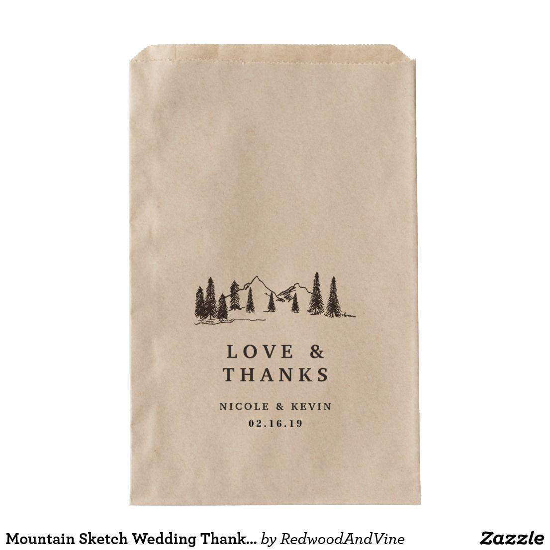 Mountain Sketch Wedding Thank You Favor Bag | Mountain sketch, Favor ...