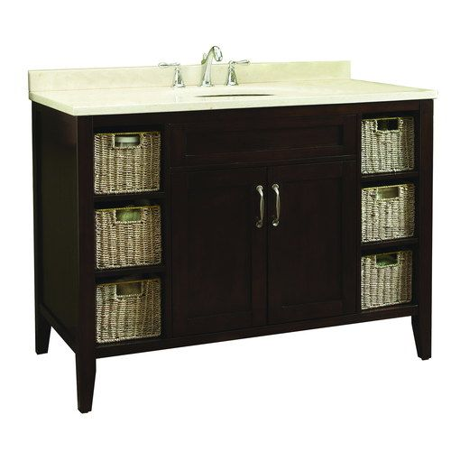 Allen Roth 48 In Tan Tanglewood Bath Vanity With Marble Top And