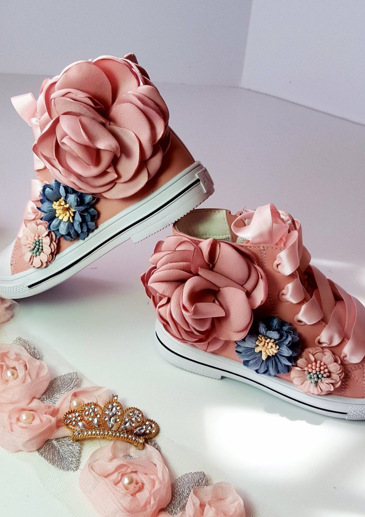 Sweet Bella Pink Flower Shoes Flower Shoes Pink High Tops And Top