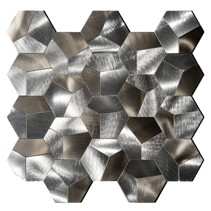 Farro Hexagonal 12 X 12 Metal Peel Stick Mosaic Tile Mosaic Tiles Home Improvement Stick On Tiles