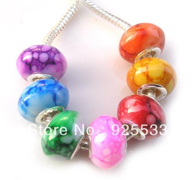 Lot 100Pcs Mixed Assortment Big Hole Acrylic Beads Fit Pandor European Bracelet