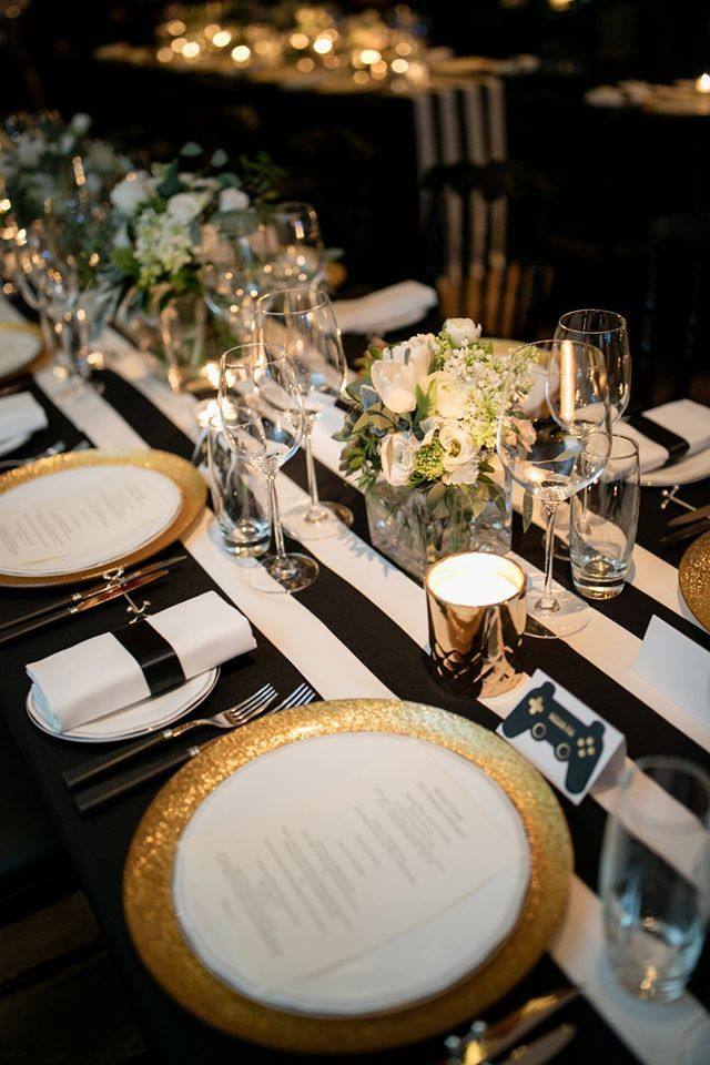 Jazz 50th Birthday Party Black White and Gold tablescape Sevva