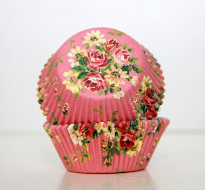 Cottage Rose Cupcake Papers 75 Pcs Baking Cups Set By Trulytina