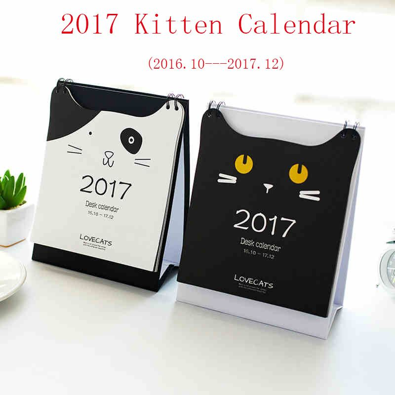 New 2017 cute cat print desk calendar desktop to do list daily planner book office desk supplies standing school korean