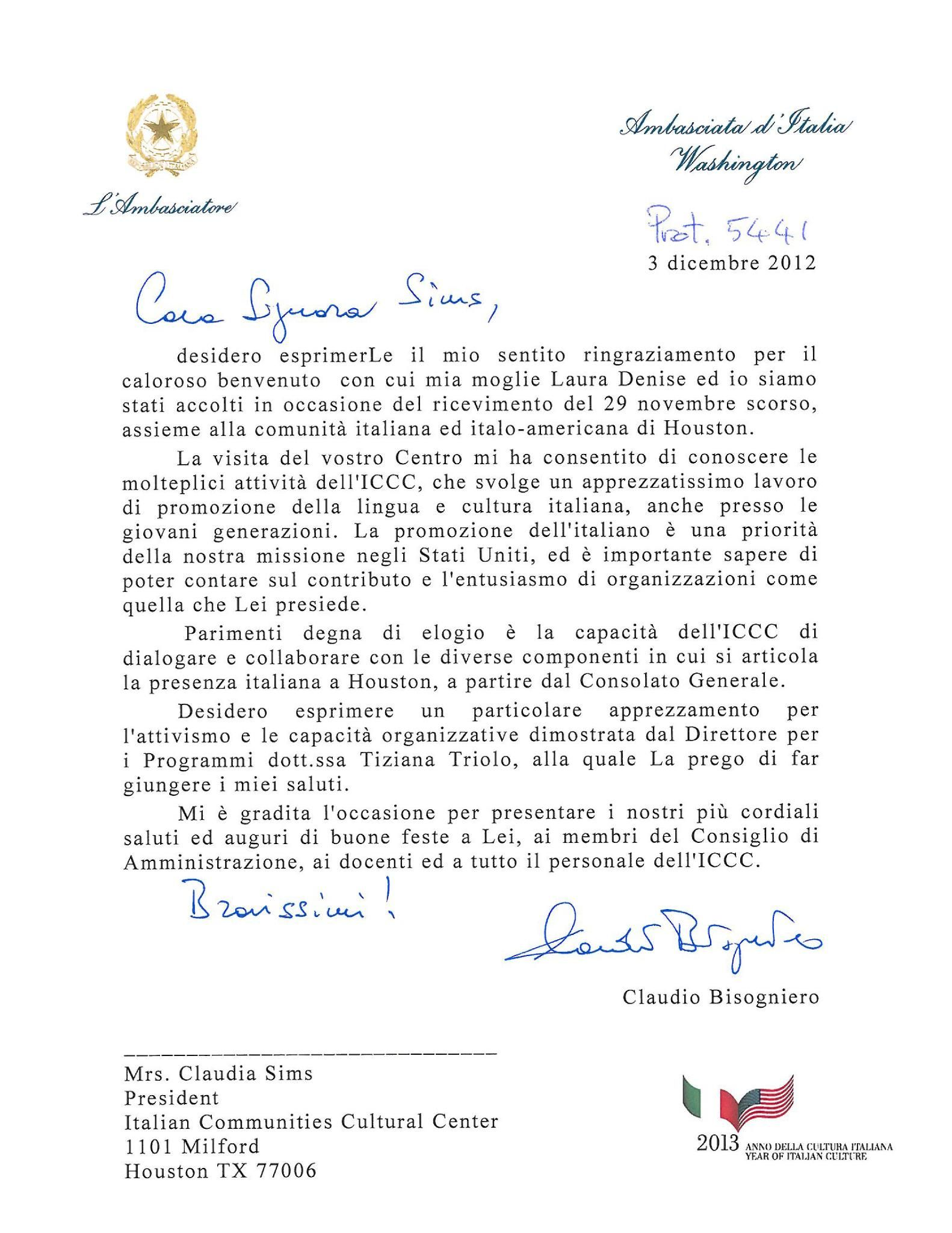 Thank You Note From His Excellency The Ambassador Italy Usa  Home