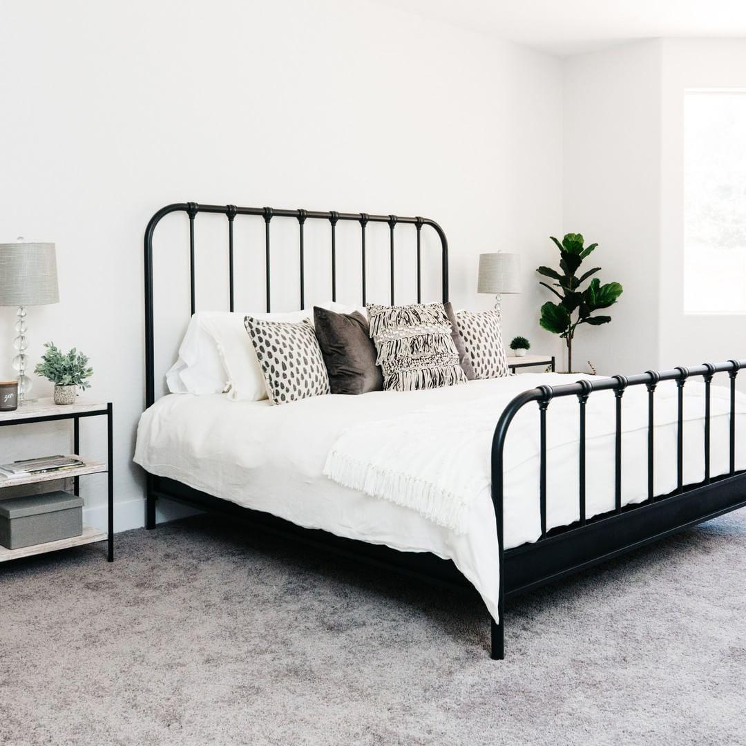 Knox California King Metal Panel Bed Black Bed Frame Bedroom