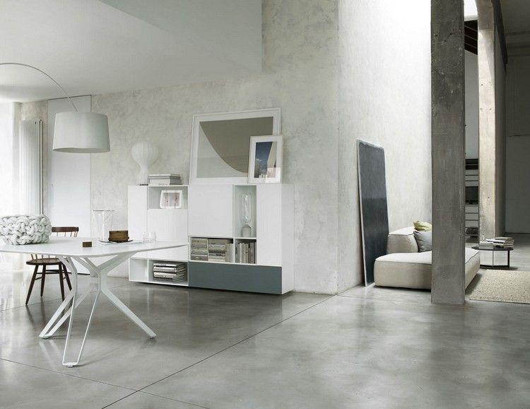 Moderne Wohnwand Style : Salle à manger moderne de style minimaliste table blanc laqué