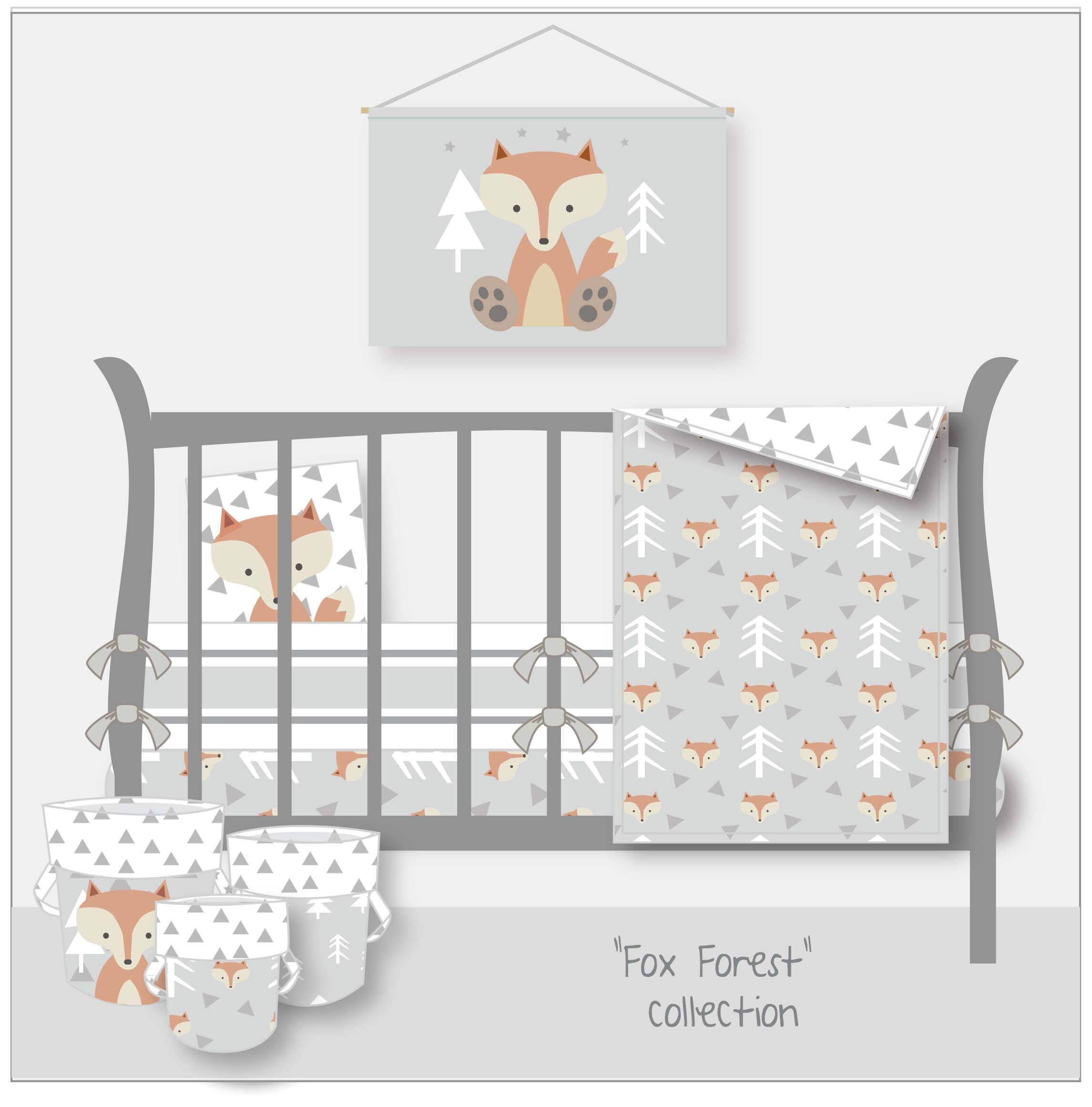 Woodland Nursery Fox Nursery Bedding Woodland Crib Bedding Grey
