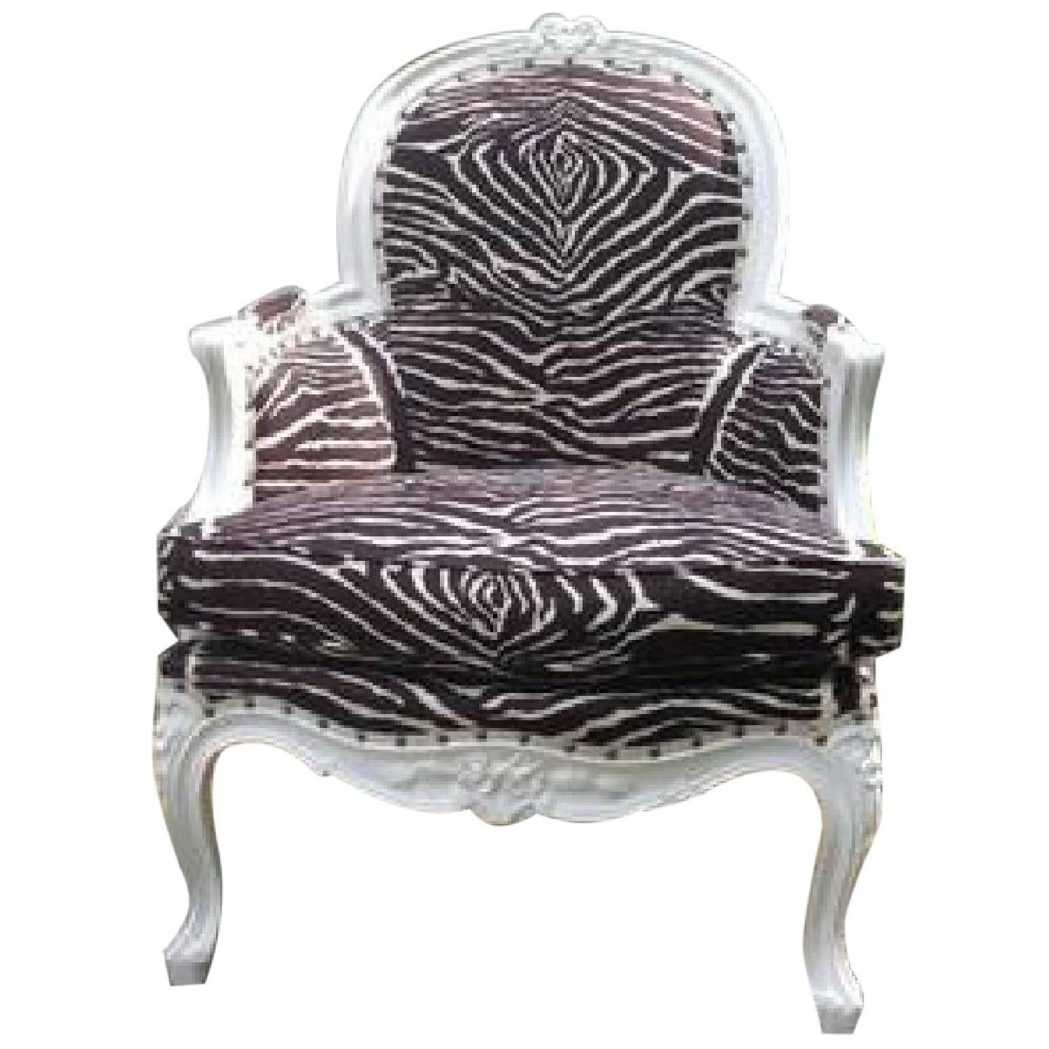 French hollywood regency accent chair with brunschwig zebra stripe